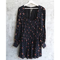 Free People - Two Faces Printed Mini Dress - Black