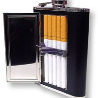 Bewild Brand® - Black 6 oz. Flask with Cigarette Case