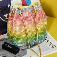 New women's personality one-shoulder rhinestone chain handbag bucket bag