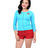 Aqua Blue & Red Anchor & Bow Lovely Long Sleeve Button Up Cardigan