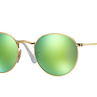 Ray-Ban Sunglasses Gold Green Flash 3447 112/P9