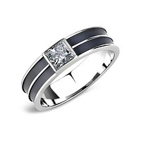 Charming Man - Black Stainless Steel High Polished Men's Ring With Black Tinted Square Crystal Stone