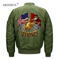 ABOORUN Plus Size 8XL Mens Fashion Bomber Jackets US Flag Air Force Pilot Jackets Autumn Windbreaker Coat for Male x1169