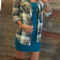 Penny Plaid Flannel Top: Jade/Taupe