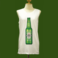 Vintage Retro Style Heineken Beer Icy Bottle - Womens Tank Top Mini Dress Printed White T Shirt Light and Soft