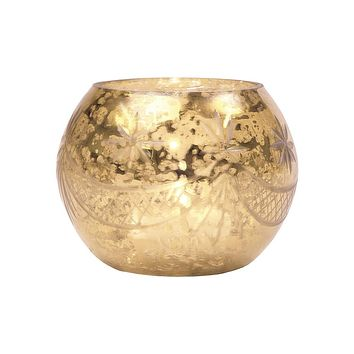 Vintage Mercury Glass Globe Holder (3-Inch, Mary Design, Gold) - For use with Tea Lights - Home Decor, Parties and Wedding Decorations
