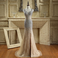 iLoveWedding New Sexy Tulle Lace Evening Dress Long Sweetheart Mermaid Prom Dresses Backless Beaded Crystal Robe De Soiree CY013