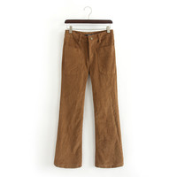 Autumn Women's Fashion Lights With Pocket Boot Cut Casual Pants [5013118020]