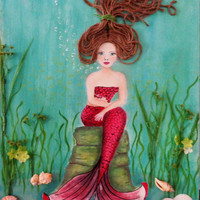 Mermaid Wall Art- Beach Decor- Acrylic Painting- Mixed Media- Coastal Wall Hanging- 16X20 inches