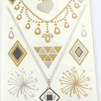 Temporary Metallic Jewelry Gold Silver Flash Tattoos - Variation 1
