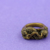 Gothic cthulhu octopus tentacle resin ring bronze jewellery jewelry intricate design from the depths of the ocean   Medium