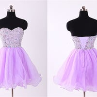 Stunning mauve beads all bodice prom dress, sweetheart mini prom dress with crystals, ball gown homecoming dress, mini cocktail dress,RS1035