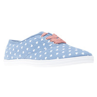 Heart Print Chambray Sneakers | Wet Seal