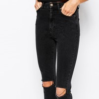 Dr Denim Cropa Cabana High Waist Cropped Skinny Jeans With Ripped Knees