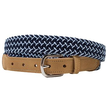 Happy Hour Woven Leather Tab Belt by Country Club Prep