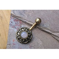 Rose Quartz Gold Belly Button Ring