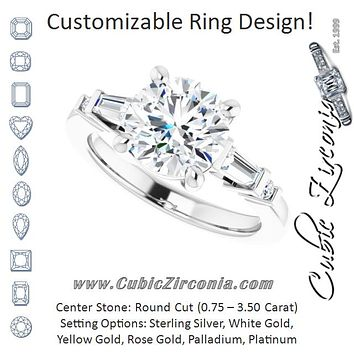 Cubic Zirconia Engagement Ring- The Belem (Customizable 5-stone Baguette+Round-Accented Round Cut Design))