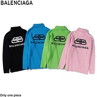 Balenciaga fashion lock letters logo turtlenecks sweaters are hot sellers for casual couples