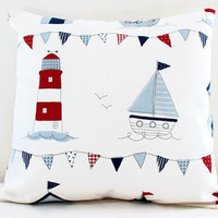 Nautical cushion cover, small 12 inch pillow cover lighthouse and boats, perfect kid's room decor, small throw pillow , handmade in the UK