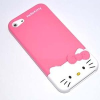 Hot 2 Piece hot pink Cute 3D Bow Hello Kitty hard Case Cover Skin for Iphone 5 5G