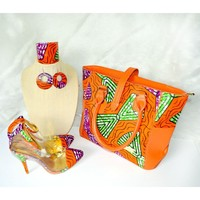 FARAJI Orange African Print Peep Toe Shoes And Bag Set
