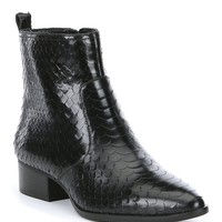 Gianni Bini Esplin Snake Printed Leather Block Heel Booties | Dillard's