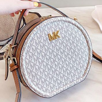 MK Micheal kors New fashion monogram print leather round shoulder bag crossbody bag handbag