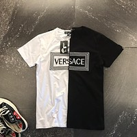 """Versace"" Unisex Casual Personality Multicolor Letter Embroidery Short Sleeve Couple T-shirt Top Tee"