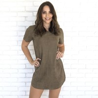City Streets Suede Shift Dress in Olive