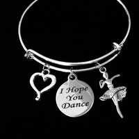 I Hope You Dance Silver Expandable Charm Bracelet Wire Bangle Dancer Ballet Teacher Gift
