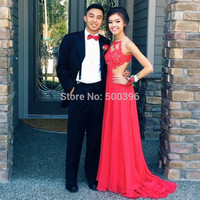 Red Lace Chiffon Sexy A line Prom Dresses 2017 Long Evening Dress with Side Split Backless Long Party Gowns for Special Occasion