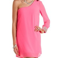 Rhinestone-Cuffed One Shoulder Shift Dress - Neon Pink