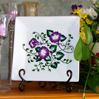 Hand Painted Square Decorative Plate With Purple Flowers