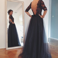 Maxi Black Open back Lace Evening Gown
