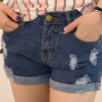 Dark Blue Ripped Denim Shorts