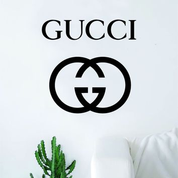 Gucci Logo Wall Decal Home Decor Bedroom Room Vinyl Sticker Art Quote Designer Brand Luxury Girls Cute Expensive