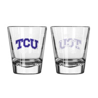 TCU Horned Frogs Shot Glass - 2 Pack Satin Etch