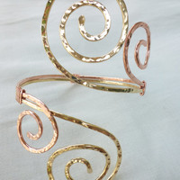 Grecian Double Swirl Upper Arm Cuff - Hammered Upper Arm Band - Armlet