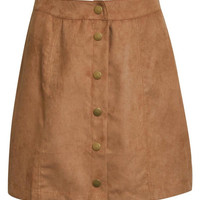 Leonora Faux Suede Front Button Mini Skirt in Tan Brown