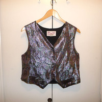 70s Purple Metallic Cropped Vest
