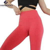 HAHASOLE Leggings Sport Fitness Running Tight Push Up Women Yoga Pants Solid Color Mid Waist Gym Athletic Leggings HWA1855-42