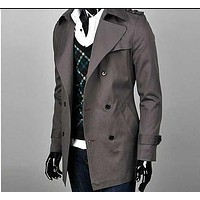 Fashion autumn slim men's clothing teenage double breasted trench coat men business outerwear mens trench coat plus size 9XL