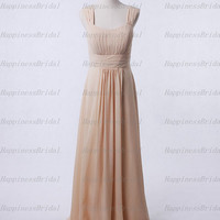 Custom A-line Straps Floor-length Chiffon Pleat Long Bridesmaid Dress Prom Dress Formal Evening Dress Party Dress Cocktail Dress 2013