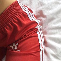 """Adidas"" Women Men Loose Exercise Sport Pants Trousers Sweatpants Red"