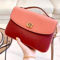 COACH Tide brand retro shoulder slung rivet bag Camellia lock buckle portable small square bag