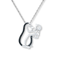 Penguin Necklace 1/15 ct tw Black Diamonds Sterling Silver