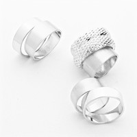 Silver Rhodium Knuckle Rings 7 Pieces