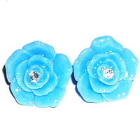BUY 4 choose 1 FREE..Cute blue rhinestone cabochon flower post stud free nickel affordable clip on earrings