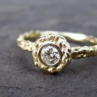 Diamond Twig Halo Ring in Recycled Gold by kristincoffin on Etsy