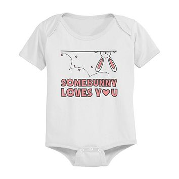 SomeBunny Loves You Funny Graphic Design Printed White Baby Onesuit